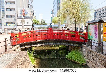 KOCHI JAPAN - JULY 19 2016: Harimaya-bashi Bridge in Kochi town Shikoku Island Japan. Featured in a famous Kochi song about the forbidden love of a Buddhist priest