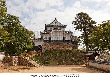 TAKAHASHI JAPAN - JULY 20 2016: Main keep (tenshukaku) of Bitchu Matsuyama castle (circa 1683) Takahashi Japan. Matsuyama is one of only 12 survived castles in Japan