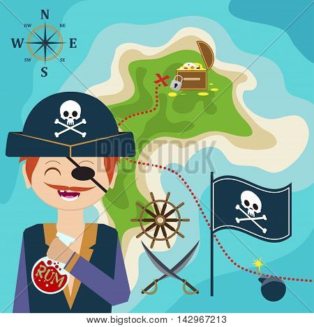 Map With A Pirate And Treasure Island. Child Game. Help The Find Treasures. Vector
