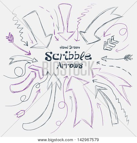 Collection Of Scribble Arrows Hand-drawn On A White Background. Vector