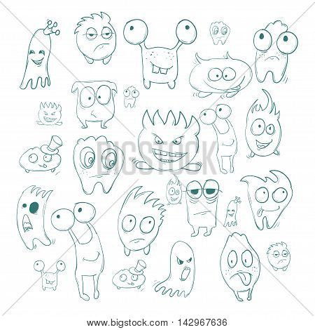 Contour Funny Monsters For Halloween Holiday Or  Your Design. It Can Be Used  Childrens Books With F