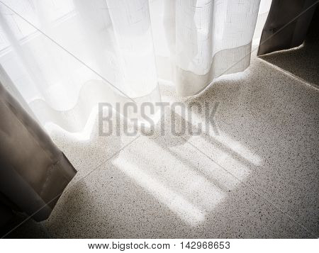 Curtain window with morning light Home Interior decoration