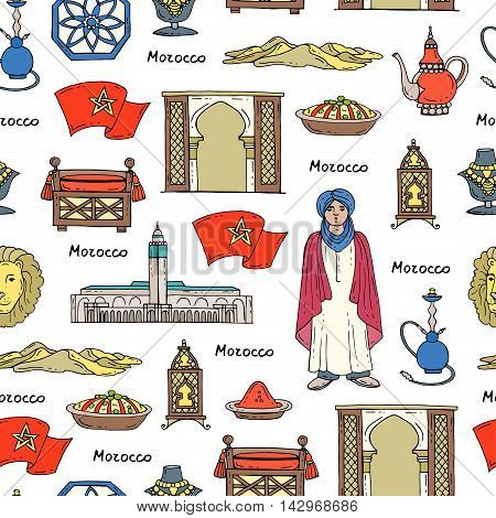 Vector seamless pattern with hand drawn colored symbols of Morocco. Pattern on the theme of travel and tourism. Background for use in design, packing, web site, fabric