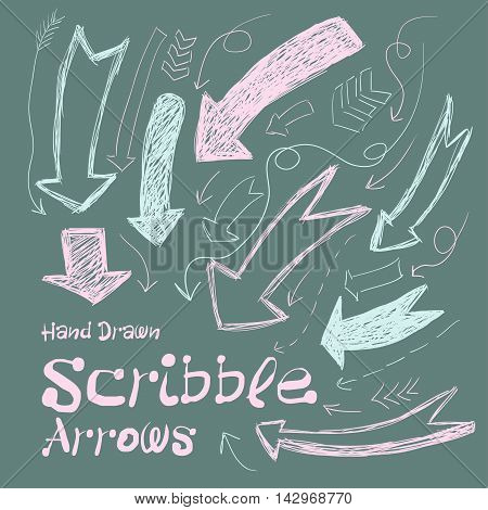 Collection Of Scribble Arrows Hand-drawn On A Dark Background. Vector
