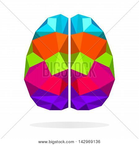 Brain left and right side creative concept. Colorful polygonal vector background.