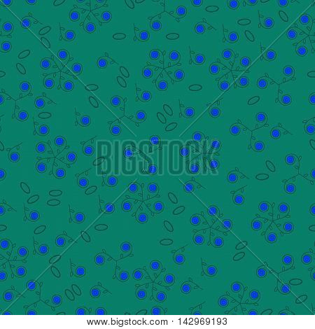 Seamless floral pattern. Blue berries and leaves on emerald green endless vector background.