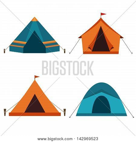 Camping tent vector icons isolated on white background. Set of tourist camp tents in orange and blue colors.