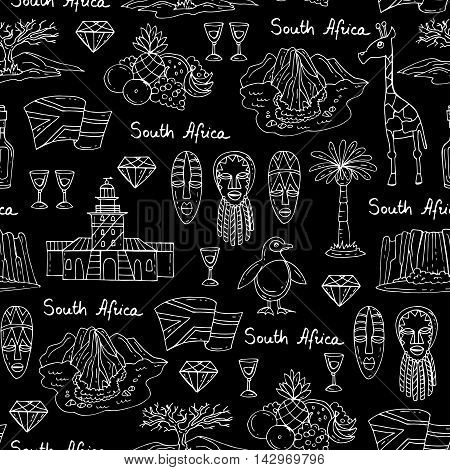Vector seamless pattern with hand drawn isolated symbols of South Africa on black color. Pattern on the theme of travel and tourism. Background for use in design, packing, web site, fabric
