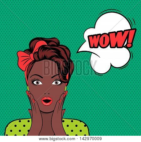 WOW bubble pop art woman face with open mouth on green background. Vector illustration
