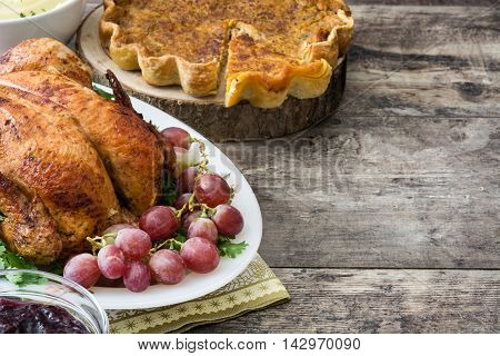 Turkey thanksgiving dinner on rustic wooden background
