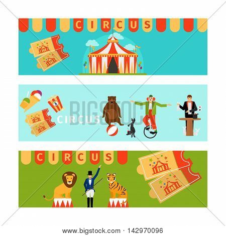 Circus banners in modern flat style. Vector illustration