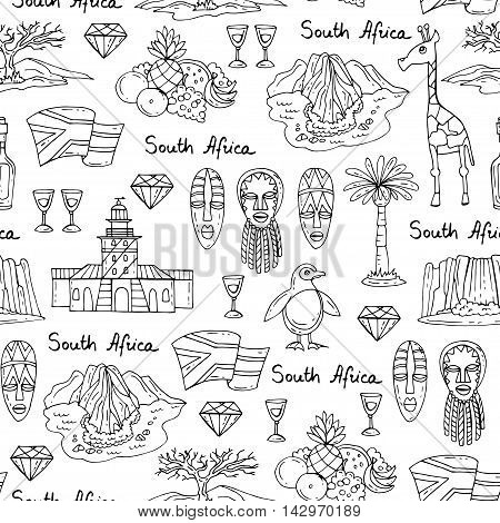 Vector seamless pattern with hand drawn isolated symbols of South Africa on white color. Pattern on the theme of travel and tourism. Background for use in design, packing, web site, fabric