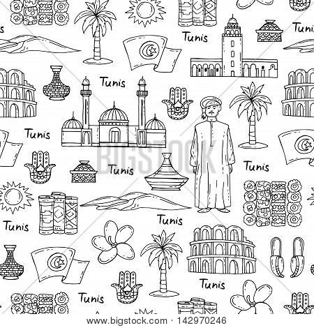 Vector seamless pattern with hand drawn isolated symbols of South Africa on white color. Pattern on the theme of travel and tourism. Background for use in design packing web site fabric