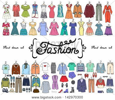 Vector set with hand drawn colored doodles on the theme of fashion. Flat illustrations of women's and men's fashionable clothes. Sketches for use in design