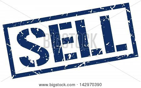 sell stamp. blue grunge square isolated sign