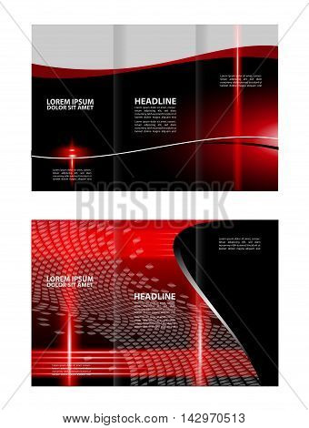 Red Colors Polygonal Geometric Elements Style Business Tri-Fold Brochure Template. Corporate Leaflet, Cover Design