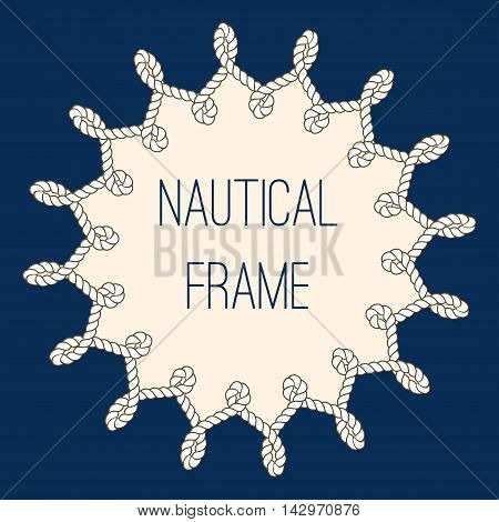 Intertwined nautical ropes frame over navy blue background. Vector illustration