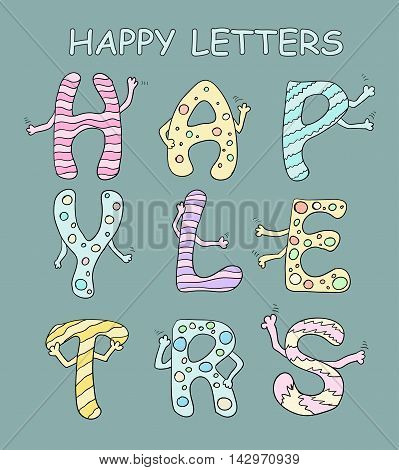Set Of Bright Cartoon Letters With Hands On A Green Background. Vector
