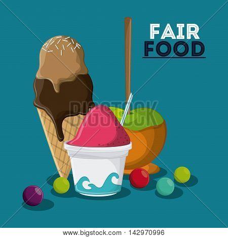 ice cream apple fair food snack carnival festival icon. Colorful design. Vector illustration