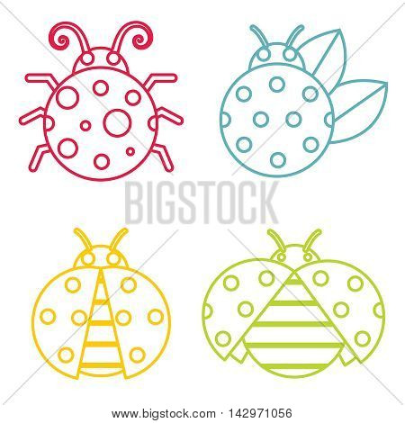 Ladybug icons in color line style on white background. Insect in linear style. Vector illustration