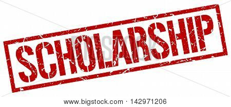 scholarship stamp. red grunge square isolated sign