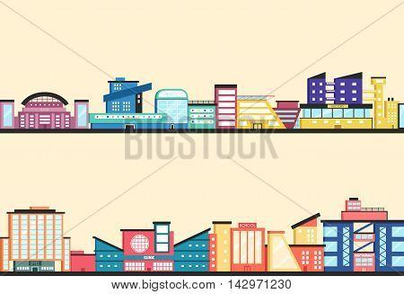 Set of public buildings. Modern architecture. Flat vector illustration. Downtown. Vintage style. Constructionism