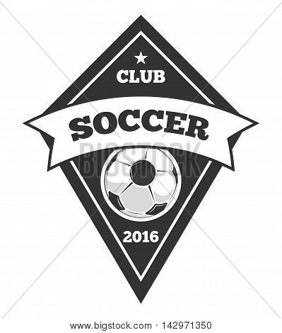 Vector soccer logo template, emblem in black isolated over white. Soccer club monochrome emblem illustration