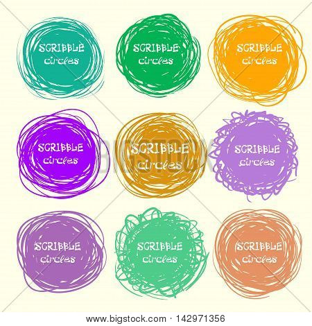 Set Of Bright Hand-drawn Scribble Circles For Your Design. Vector