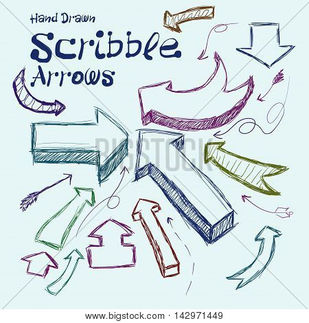 Set Of Scribble Arrows Hand-drawn On A Light Background. Vector