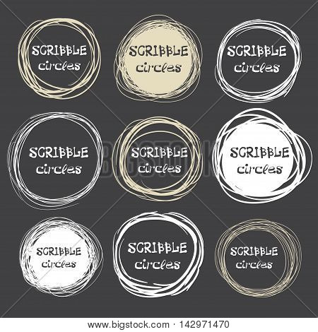 Collection Of Hand-drawn Scribble Circles Against A Dark Background. Vector