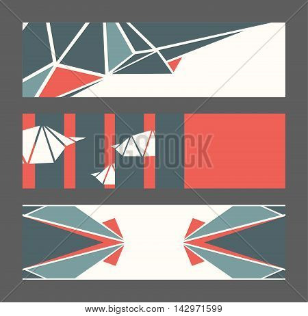 Beautiful collection of horizontal banners based on blue and red triangles and white background. Vector illustration with laconic design good for print isolated on dark background