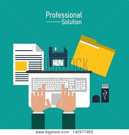 laptop file diskette professional solution technology icon. Colorful design. Vector illustration