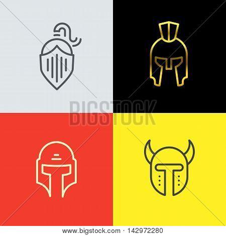 Warrior helmet logo set. Trendy line art design. Eps10 vector illustration.