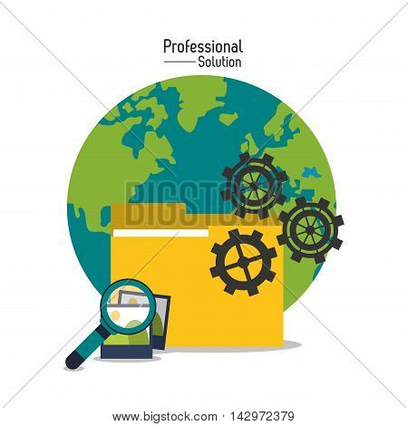 lupe planet picture gear professional solution technology icon. Colorful design. Vector illustration