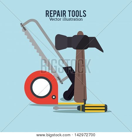 hammer saw meter screwdriver repair tools construction icon. Colorful design. Vector illustration