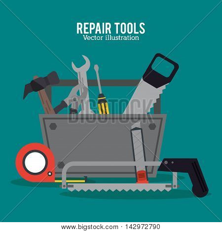 hammer saw meter screwdriver pliers repair tools construction icon. Colorful design. Vector illustration