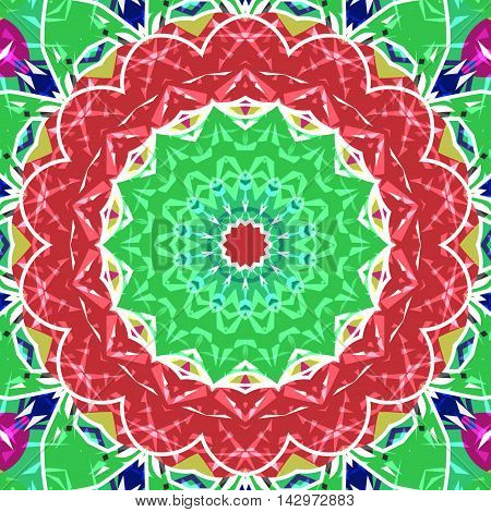 Abstract paisley green ornament. Seamless pattern kaleidoscopic orient popular style