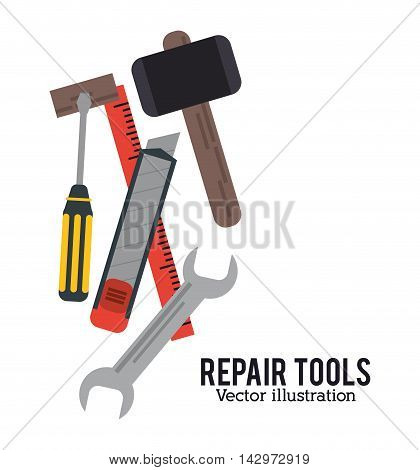 hammer wrench screwdriver ruler repair tools construction icon. Colorful design. Vector illustration