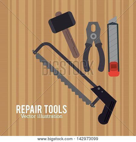 hammer saw pliers repair tools construction icon. Colorful design. Vector illustration