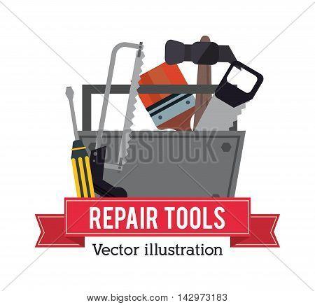 hammer saw screwdriver brush repair tools construction icon. Colorful design. Vector illustration