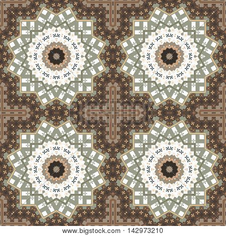Abstract paisley brown ornament. Seamless pattern kaleidoscopic orient popular style