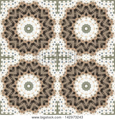 Abstract paisley brown white ornament. Seamless pattern kaleidoscopic orient popular style