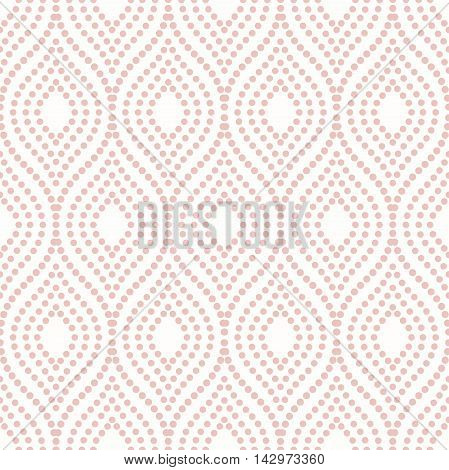Seamless vector ornament. Modern geometric pattern with repeating pink dotted wavy lines
