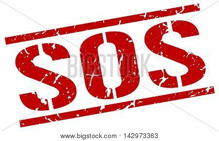 sos stamp. red grunge square isolated sign