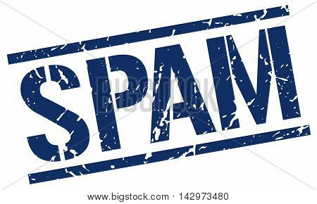 spam stamp. blue grunge square isolated sign