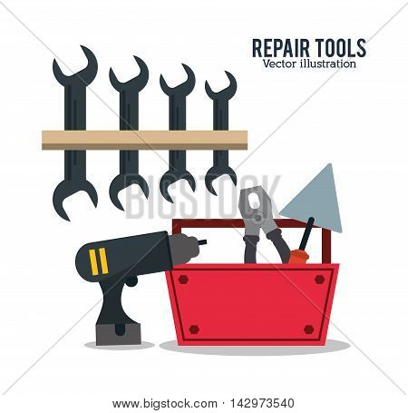 spatula pliers wrench drill repair tools construction icon. Colorful design. Vector illustration