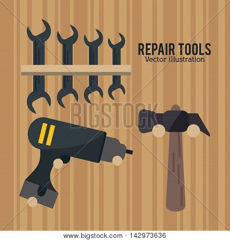 hammer wrench dill repair tools construction icon. Colorful design. Vector illustration