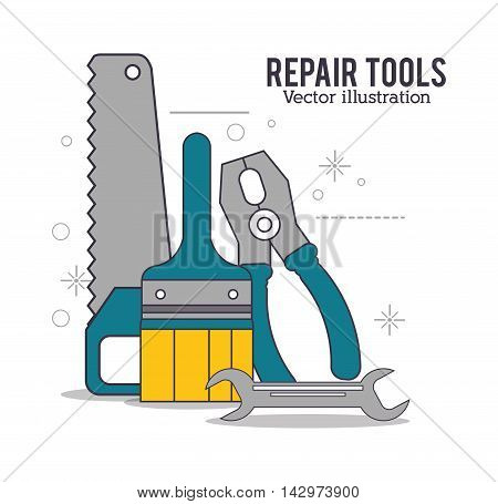 saw pliers wrench repair tools construction icon. Colorful design. Vector illustration