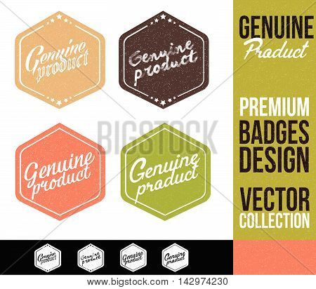 Genuine Product Logo Badge and Emblem in Flat Design Style.
