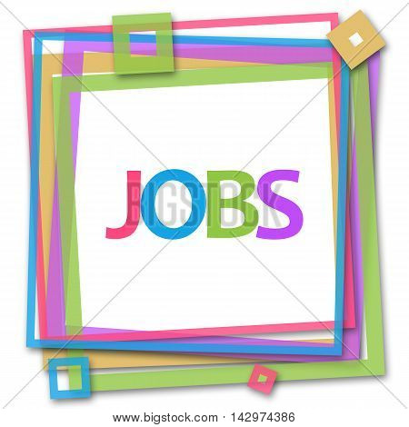 Jobs text written over colorful squares background.
